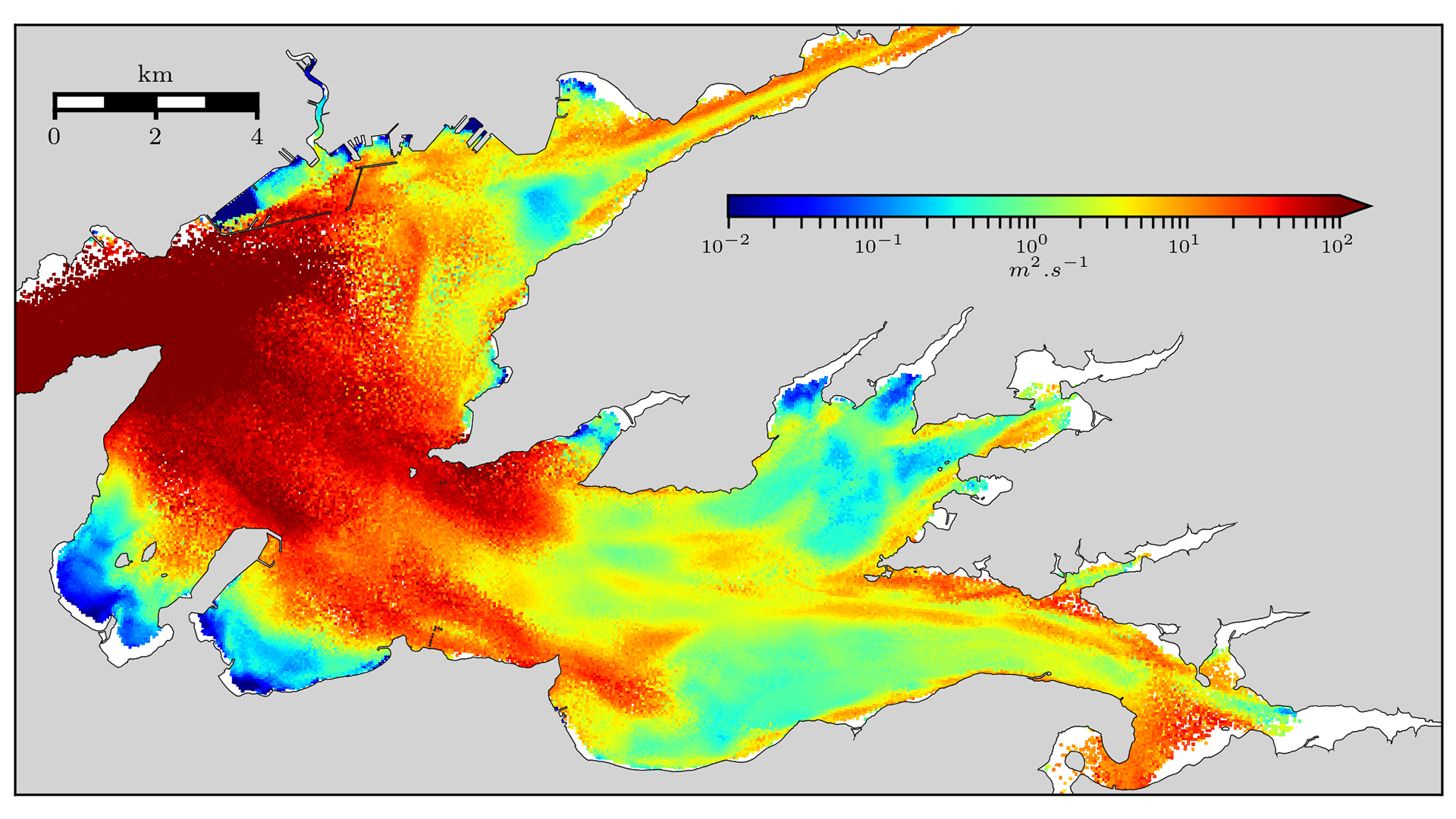 Coefficient de diffusion locale en rade de Brest (S. Petton/Ifremer-LEMAR)