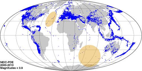 Sismicité mondiale de magnitude inférieure à 3.9. Catalogue NEIC 2000-2010